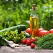 Fresh vegetables and oil - Photo