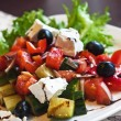 Stock Photo: Salad with feta cheese, olives and peppers