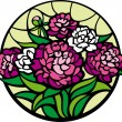 Royalty-Free Stock Vector Image: Stained-glass peonies.