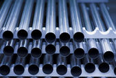 Machined stainless steel tubes — Stock Photo