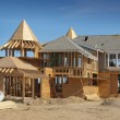 Home addition under construction - Stock Photo