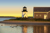 Hyannis harbor lighthouse at sunset — Stock Photo
