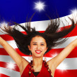 American Girl Celebrating — Stock Photo