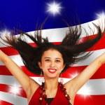 American Girl Celebrating — Stock Photo
