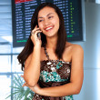Young Woman In An Airport - Stock Photo