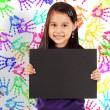 Young Cheerful Girl With A Blank Board — Stock Photo