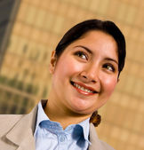 Business Woman Standing Outsite Her Company Headquarters — Stock Photo