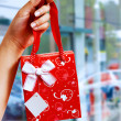 Stock Photo: Gift Wrapped Bag Being Held Up