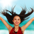 Excited Girl At The Beach — Stock Photo