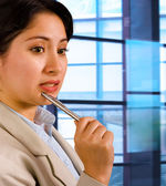 Business Woman Thinking About Company Plans — Stock Photo