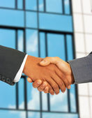 Businessmen Greet Each Other By Shaking Hands — Stock Photo
