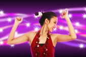Young woman Dancing with Abstract Purple and Stars Background — Stock Photo