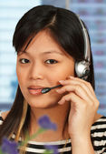 Hotline Assistant On The Phone — Stock Photo