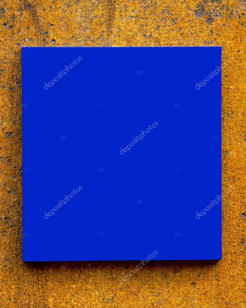 Blank blue sign on a textured wall — Stock Photo #5847642
