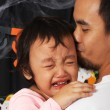Father Carrying His Crying Child - Stock Photo