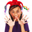 Laughing Girl With A Joker Hat — Stock Photo