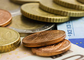 Euros Cash And Coins — Stock Photo