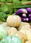 Biologische groenten in de markt — Stockfoto