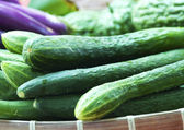 Organic Cucumbers Being Sold In A Market — Stock Photo