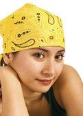 Beautiful Girl In Yellow Bandana — Stock Photo