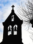 Silhouette Of A Church Belfry Tower — Stock Photo