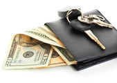 Dollars Cash In A Black Wallet — Stock Photo