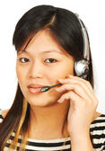 Telemarketing Woman Talking On Headset — Stock Photo