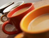 Mugs Of Coffee On A Table Close Up — Stock Photo