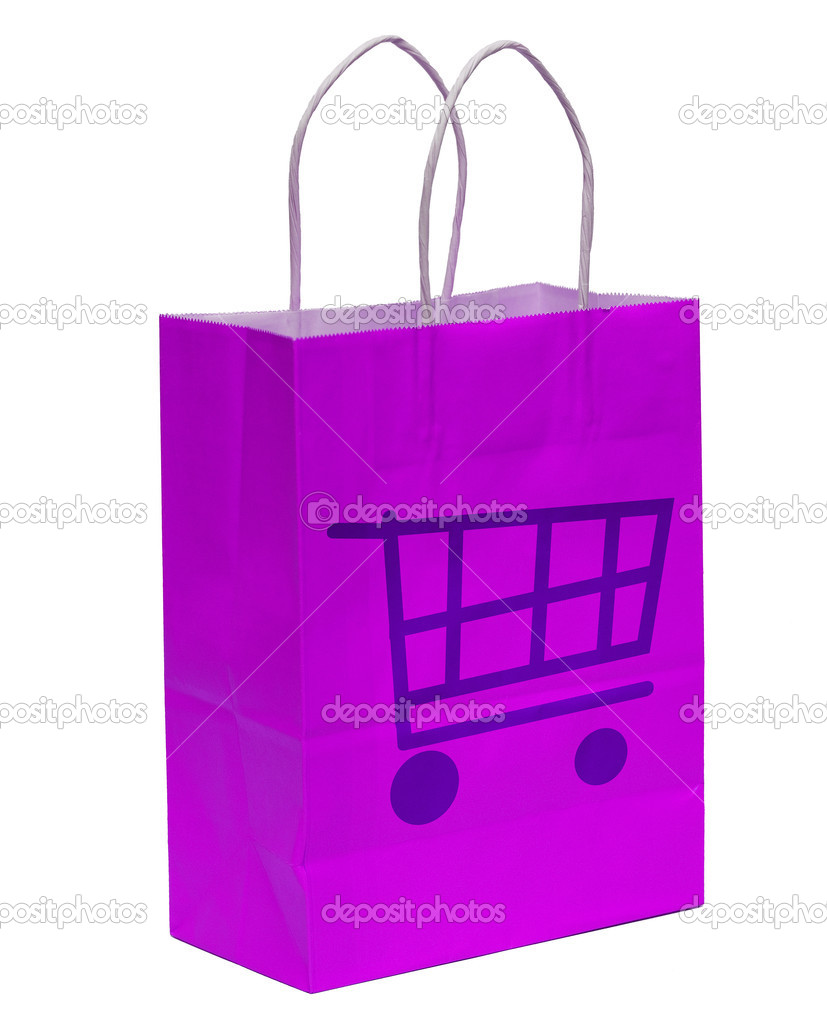 Shopping Bag With Shopping Cart - Representing E-Commerce And Online Checkout  Stock Photo #6414069