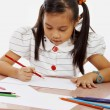Young Girl Drawing A Picture — Stock Photo