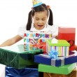 Girl Excited By Receiving Lots Of Presents — Stock Photo