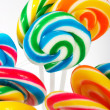 Twisted Multicolored Candy On Sticks — Stock Photo