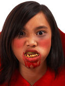 Girl Made Up As A Vampire At Halloween — Stock Photo