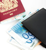 Passport And Euros For A Trip — Stock Photo