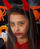 Girl Dressed Up As A Devil — Stock Photo
