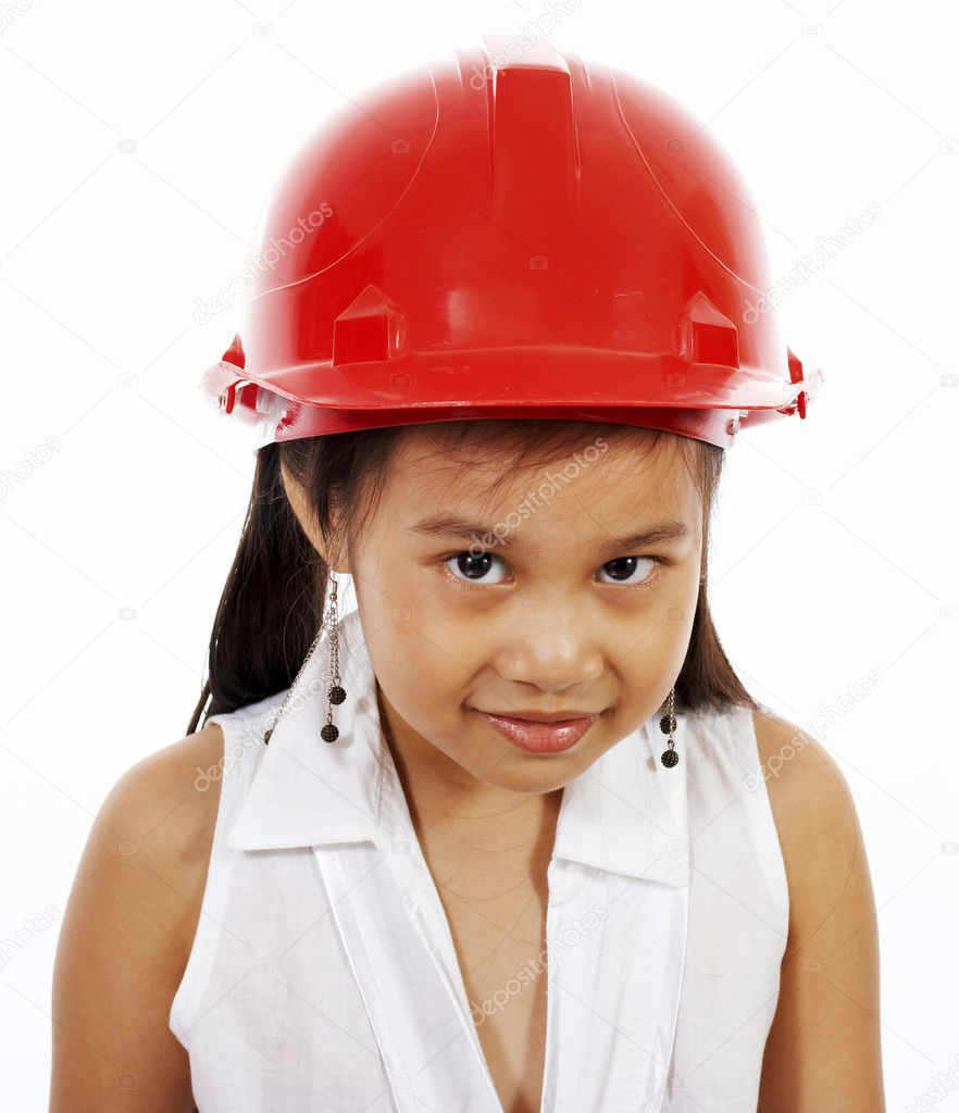 Shy Little Girl Acting Out Being An Engineer Or A Builder — Stock Photo #6439761