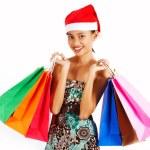 Girl On A Christmas Shopping Spree — Stock Photo