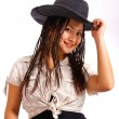 Stock Photo: Smiling Stylish Pretty Cowgirl
