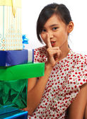 Girl Looking At Lots Of Birthday Presents — Stock Photo