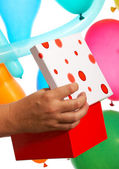Opening A Birthday Gift Or Present — Stockfoto