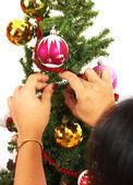 Decorating The Christmas Tree — Stock Photo