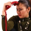 Stock Photo: WomReceiving Distressing Phone Call