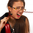 Secretary Frustrated Over Telephone Call — Stock Photo