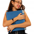 Girl Hugging Her Expensive Laptop — Stock Photo
