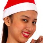 Joyful Girl Wearing A Christmas Hat — Stock Photo