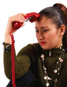 Woman Receiving Distressing Phone Call — Stock Photo