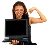Girl Pointing To Blank Computer Screen Message — Stock Photo