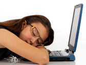 Girl Asleep On Her Notebook Computer — Stock Photo