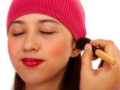 Applying Blusher Cosmetic Makeup — Stock Photo