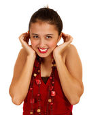 Lovely Girl Smiling And Shrugging — Stock Photo